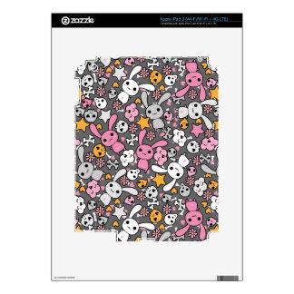 kawaii gray pattern iPad 3 skin