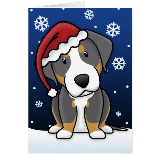 Kawaii Greater Swiss Mountain Dog Christmas Card