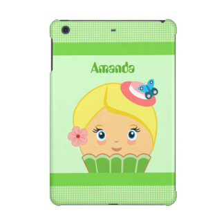 Kawaii Green and Yellow Cute Cupcake Character iPad Mini Covers