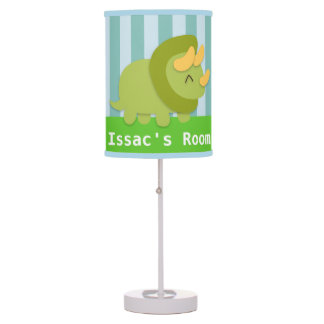 Kawaii green and yellow Triceratops for kids Table Lamps