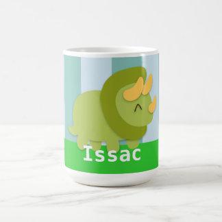 Kawaii green and yellow Triceratops for kids Coffee Mugs
