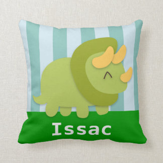 Kawaii green and yellow Triceratops for kids Pillow