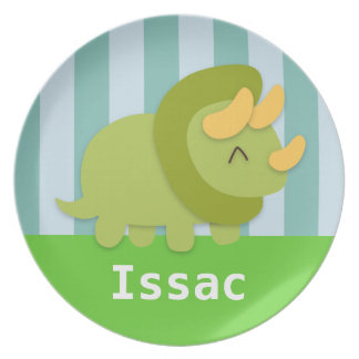 Kawaii green and yellow Triceratops for kids Plates