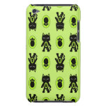 Kawaii Green Cat and Paw Print Pattern iPod Touch Cover
