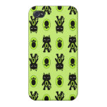 Kawaii Green Cat and Paw Print Pattern Cases For iPhone 4