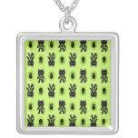 Kawaii Green Cat and Paw Print Pattern Jewelry