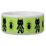 Kawaii Green Cat and Paw Print Pattern Pet Bowls