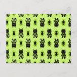 Kawaii Green Cat and Paw Print Pattern Post Card