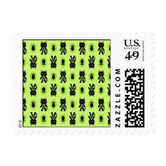 Kawaii Green Cat and Paw Print Pattern Postage