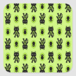 Kawaii Green Cat and Paw Print Pattern Square Stickers