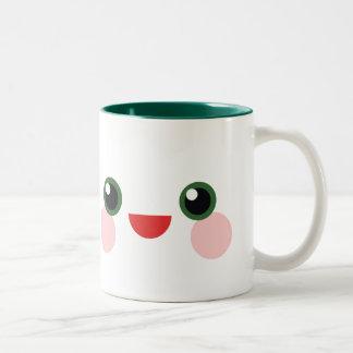 Kawaii Green Eyes Sweet Happy Face Delight Two-Tone Coffee Mug