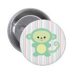 kawaii green monkey button