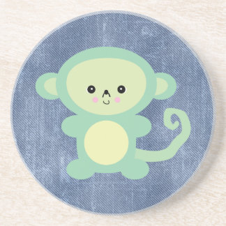 kawaii green monkey drink coaster
