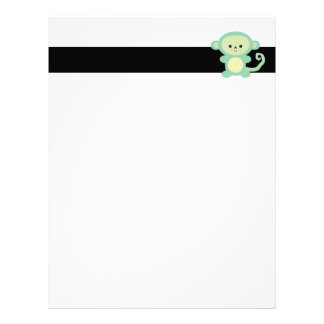kawaii green monkey letterhead
