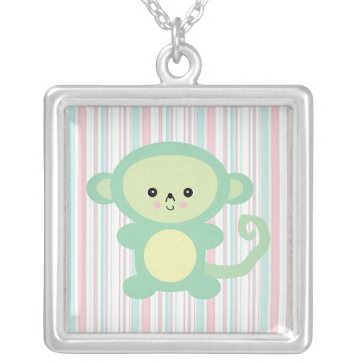 kawaii green monkey pendants