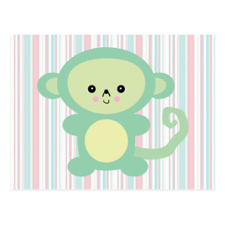 kawaii green monkey postcard