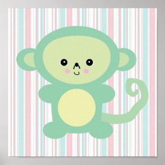 kawaii green monkey poster