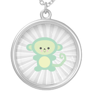 kawaii green monkey round pendant necklace
