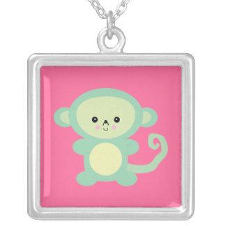 kawaii green monkey square pendant necklace