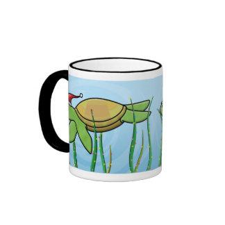 Kawaii Green Sea Turtle Christmas Ringer Coffee Mug