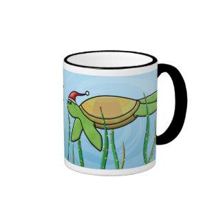 Kawaii Green Sea Turtle Christmas Mugs