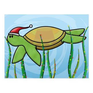 Kawaii Green Sea Turtle Christmas Postcard