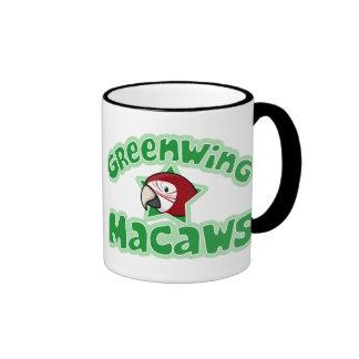 Kawaii Greenwing Macaw Ringer Coffee Mug