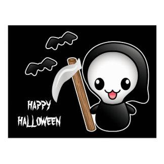 Kawaii Grim Reaper And Text Happy Halloween Postcard