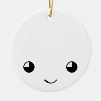 Kawaii hace frente al ornamento adorno navideño redondo de cerámica