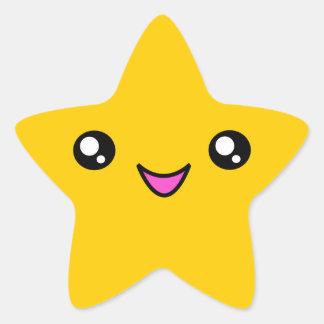 Kawaii hace frente al pegatina de la estrella del