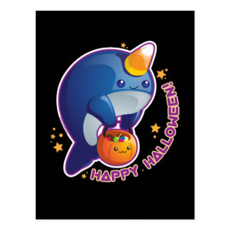 Kawaii Halloween Narwhal Postcard