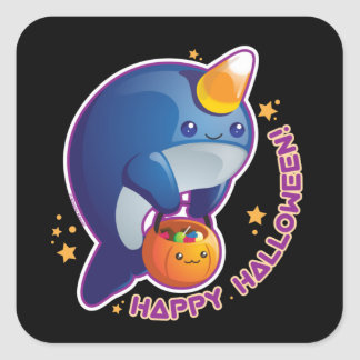 Kawaii Halloween Narwhal Square Stickers