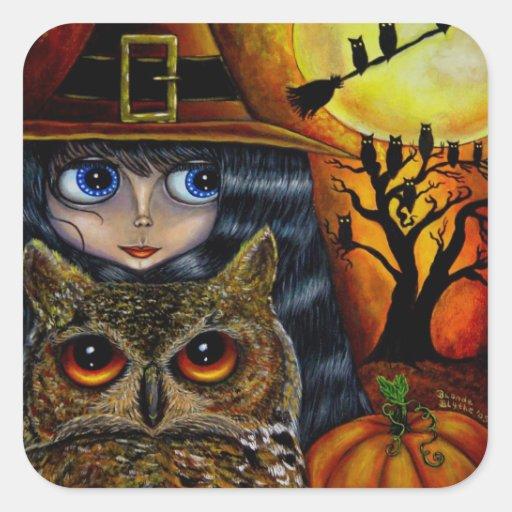 Kawaii Halloween Owl Witch Doll with Big Eyes Square Sticker