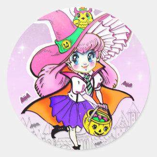 Kawaii Halloween Witch Vampire Shoujo Girl Classic Round Sticker