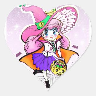 Kawaii Halloween Witch Vampire Shoujo Girl Heart Sticker