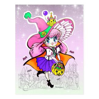 Kawaii Halloween Witch Vampire Shoujo Girl Postcard