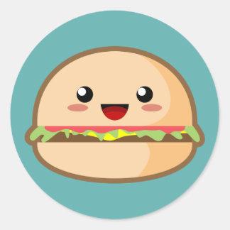 Kawaii Hamburger Classic Round Sticker