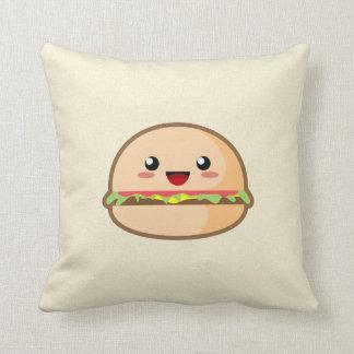 Kawaii Hamburger Throw Pillow