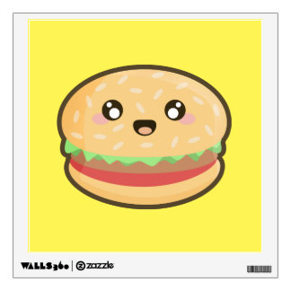 Kawaii hamburger wall decal