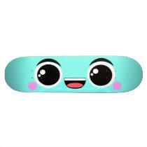 Kawaii Happy Anime Faced Aqua Skateboard Deck