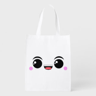 Kawaii Happy Anime Faced Market Totes