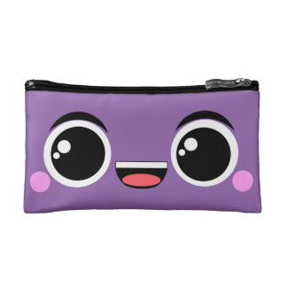 Kawaii Happy Anime Faced Purple Cosmetic Bag
