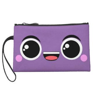 Kawaii Happy Anime Faced Purple Wristlet