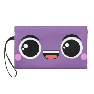 Kawaii Happy Anime Faced Wristlet