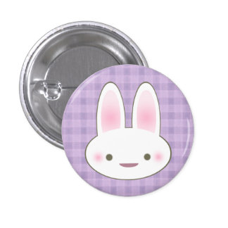 KAWAII HAPPY BUNNY GINGHAM CUTE FACE 1 INCH ROUND BUTTON