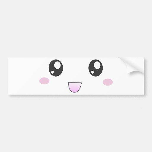 Kawaii happy face bumper sticker