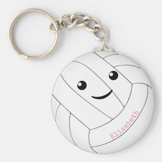 kawaii happy face girls' volleyball keychain