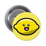 Kawaii Happy Lemon Pinback Button