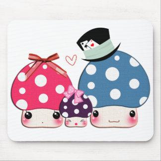Kawaii happy mushrooms family mouse pad