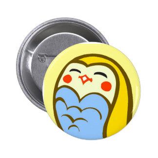 Kawaii Happy Owl Pinback Button